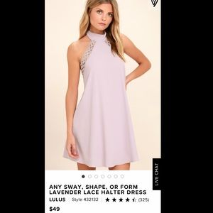 Any way shape or form lavender lace halter dress